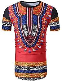 Cinnamou Camiseta Casual de Manga Corta con Cuello EN Pico y Estampado Africano de Verano Tops