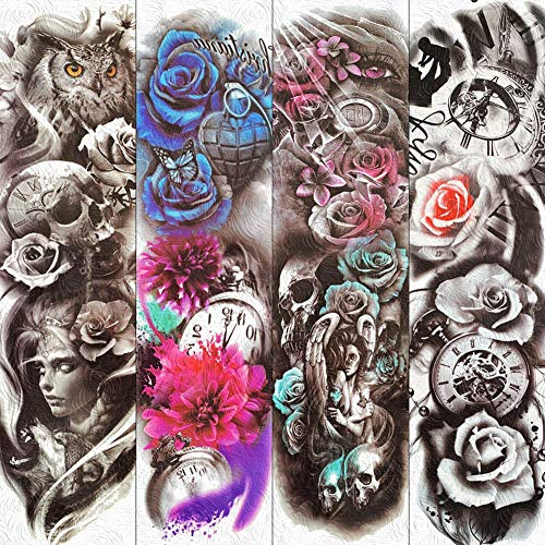 lijinjin Temporäre Tattoo-Aufkleber Aquarell Tod Schädel Engel Temporäre Tätowierung Aufkleber Voller Arm Körperkunst Für Männer Frauen 3D Blume Uhr Gefälschte Tätowierungen 18X17 cm 6 (Engel Des Todes Kostüm Frauen)