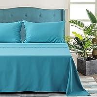 Aisbo, Parure de lit avec taie d'oreiller pour oreillers, 90 x 190 x 30,50 x 80 cm, pour lit simple – Bleu paon