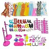 ASIV 110Pcs Modische Kleidung, Schuhe und Zubehör für Barbie Puppen, inkl. 10er Packung Kleider, 14 Paar Schuhe, 16Pcs Kleiderbügel, 2Pcs Puppen Stand Halter, 68Pcs Accessoires