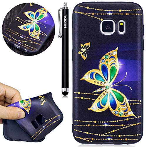 HUDDU Compatible for Schutzhülle Samsung Galaxy S7 Silikon Handy Hülle Schwarz Schmetterling Muster Motiv Handyhülle 3D Karikatur Case Weich Soft Flexibel TPU Ultra Dünn Back Cover Crystal Stoßfest