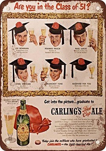 1951-de-la-carling-rojo-gorra-ale-aspecto-vintage-reproduccion-metal-tin-sign-8-x-12-pulgadas