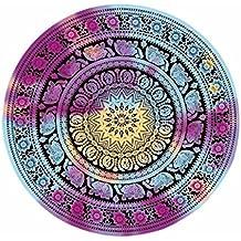 Lanowo-Mandala indio tapiz de pared colgante, toalla de playa redonda, gitano colgante de pared decorativo, Hippie Hippy estilo, púrpura Elefante Meditación Yoga Mat, Mantel de gasa Hecho a mano Hoja de playa Hoja