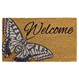 JVL–diseño de jardín con diseño de Puerta de Entrada Mat-Butterfly Beige, 45x 75cm, Fibra de Coco y látex, marrón, 45x 75x 1,5cm