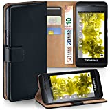 OneFlow Tasche für BlackBerry Z10 Hülle Cover mit Kartenfächern  Flip Case Etui Handyhülle zum Aufklappen  Handytasche Schutzhülle Zubehör Handy Schutz Bumper in Schwarz