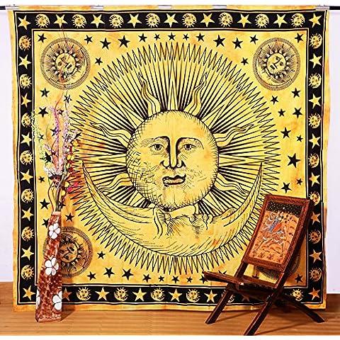 Psychedelic Celeste indiano Sun hippie Tapestry Wall Hanging tiro Tie Dye hippie Boho Boemia Tie. - Sun Moon Tie