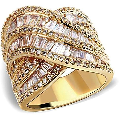 Anelli Di Fidanzamento Donna Placcato Oro Oro Ondulate Strass Formato Dell'Intarsio 17 Da Aienid