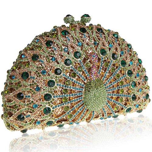 KAXIDY Pavone Scintillante Diamante Sera Pochette Borsa Handmade di Lusso Festa di Nozze Donne Borsa Tracolla Verde