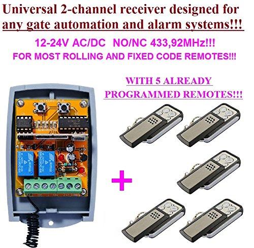 Universal 2-kanal rolling & fixed Code Funkempfänger 433,92MHz + 5 handsender Liftmaster Security Gate
