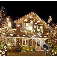 LUCKY CLOVER-A Navidad Proyector de nieve al aire libre impermeable llevó paisaje luz jardín