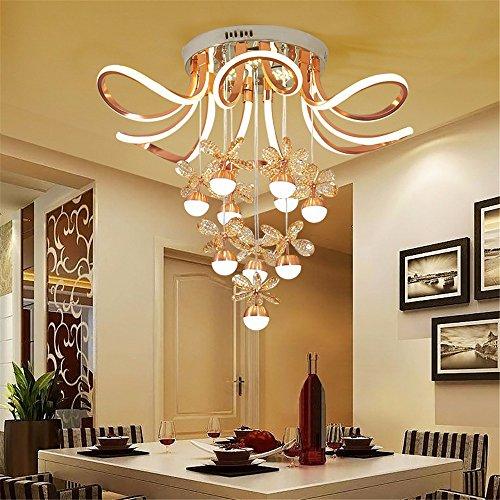 SLKDJFN Moderne Moderne Deckenleuchte Wohnzimmer Führte Deckenleuchte Goldene Aluminium Crystal Kreative Blüte Decke Im Schlafzimmer Licht 123W Deckenbeleuchtung