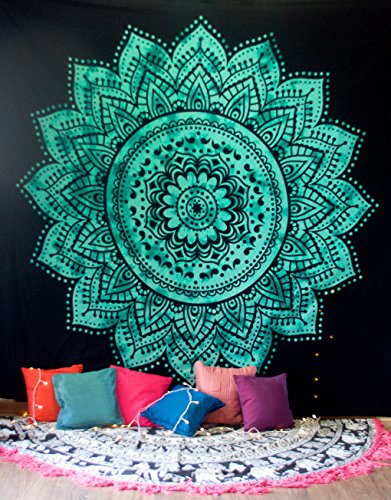 Folkulture Mandala Tapisserie hippie Décoration murale à suspendre, indien Ombre Parure de lit pour chambre à coucher, chambre d'étudiant pièce de bohème Boho Décoration murale ou Home Plaid, Queen Size Mandala Art, Vert Tie Dye