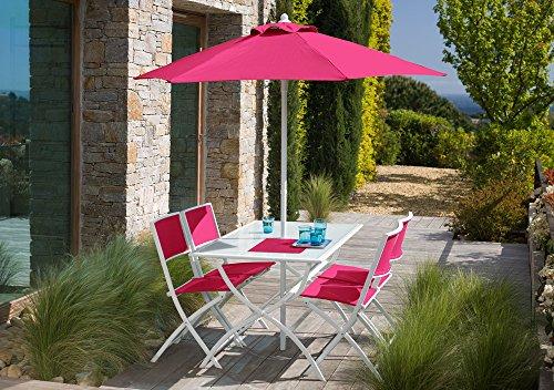 Salon de jardin framboise avec parasol offert