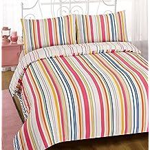 Dreamscene–Juego de cama funda de edredón juego de ropa de cama de rayas de Karla con fundas de almohada, multicolor, cama individual