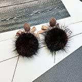 BAOZIV587 Ohrstecker Kristall Mode Bow Tie Ohrringe weiblichen Temperament lange, Ohr Nagel ohr Anhänger Herbst 耳 Ohrbügel, dunkle, Kaffee und Kaffeemaschine - farbige Ohr schrauben