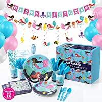 Whoobli Mermaid Party Supplies, Complete All-in-One Mermaid Birthday Party Supplies with Birthday Plates, Utensils, Cups, Napkins, and Mermaid Party Decorations and Mermaid Decor for Little Girls