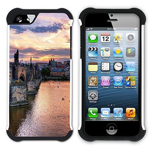 Graphic4You Prag Tschechische Republik Postkarte Aussicht Hart + Weiche Kratzfeste Hülle Case Schale Tasche Schutzhülle für Apple iPhone SE / 5 / 5S Design #27