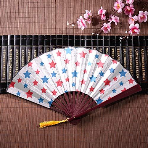 EIJODNL Faltbarer Handventilator USA-Feier Rote und Blaue Sterne mit Bambusrahmen-Quastenanhänger und Stoffbeutel Japanische Ventilatoren Handventilatoren Japanische Ventilatoren aus Bambuspapier