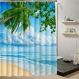 BBFhome Hem Gewichte Duschvorhang 150 x 180 cm Stoff Strand Szene Printed Wasserdicht
