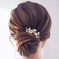Simsly - Fermagli per capelli da sposa, argento e cristalli con perle, accessori per capelli per donne e ragazze