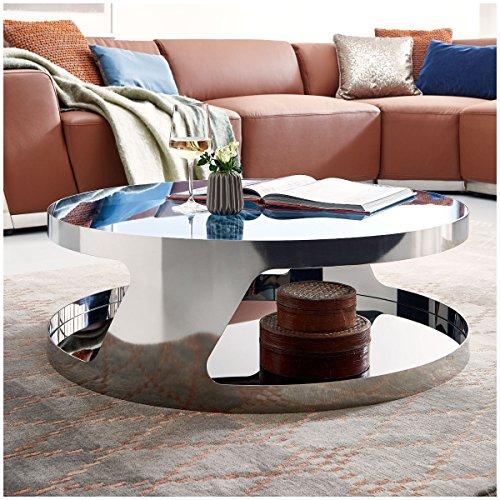 Moebella Couchtisch Chrom Silber Schwarzglas Kairo Chrome rund Beistelltisch - Chrome Moderne Beistelltisch