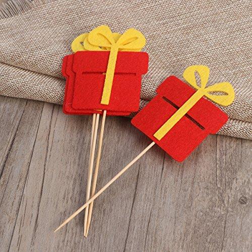 BESTOYARD Weihnachts-Geschenk-Box Kuchen Cupcake Dekorationen Topper Picks Lieferungen für Weihnachtsfeier Kuchen Dekoration 10pcs