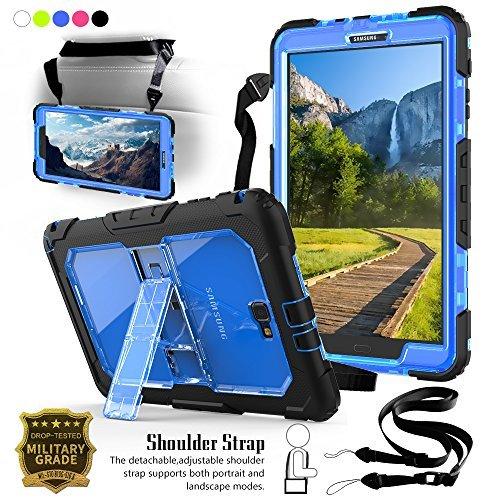 Junfire Hülle für Samsung Galaxy Tab A 10.1 Hülle Cover Backcover mit Ständer+Schultergurt, Komplettschutz Stoßfest Kinderfreundlich für Samsung Galaxy Tab A 10.1 T580 T585, Blau