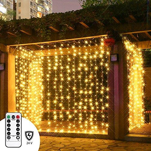 LED Lichtervorhang Sinobest Niederspannung LED Lichterkette 300 LEDs 3m x 3m IP44 Wasserfest Lichterkettenvorhang für Weihnachten Deko Party Festen, Innen, 8 Fernbedienung Leuchtmodi (Warmweiß)