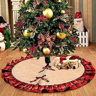 Asommet Weihnachtsbaumdecke, Tannenbaum Decke, Christmas Tree Skirt, Baumdecke, Baumteppich (Plaid Ruffles)
