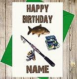 Angeln Tackle Personalisierte Geburtstagskarte–Jeder Name und Alter Druck auf der Vorderseite