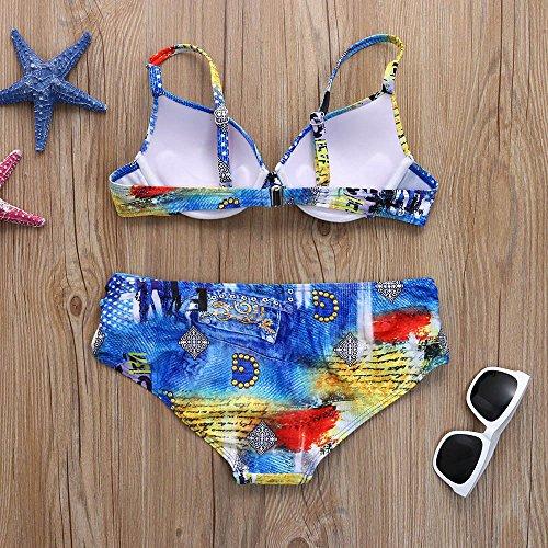 Italily - Donna Bikini Stampa Costume da Bagno Coordinati Donne Costumi da Bagno Halter Mare Costume Brasiliana Push Up Piscina Bikini Set Blue