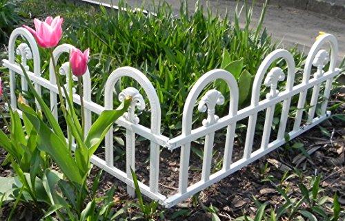 WOOLUX GARDEN Zaun Rasenkanten Beeteinfassung Palisade Beetumrandung Garten Rasen Zierzaun Gartenzaun 4er Set 2,40 m