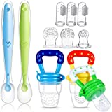 11 Pack Baby Food Feeder Silicone Set, Including 3 Fresh Fruit Feeder Pacifier, 3 Silicone Food Pouches, 2 Baby Feeding Spoon