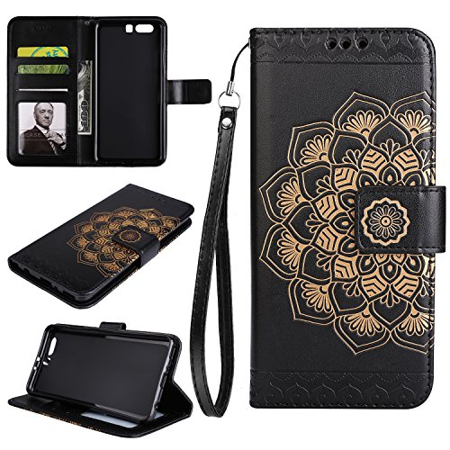 Cozy Hut Huawei P10 Hülle, Huawei P10 Hülle Leder Case, Premium Handy Schutzhülle für Huawei P10 Hülle Leder Wallet Tasche Flip Brieftasche Etui Schale, PU Schutz Etui Schale Schwarz Mandala Blume