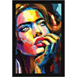 ArtX Abstract Women Wall Painting Framed, Synthetic Wood, Paper, Set of 1