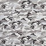Unbekannt Dekostoff Halbpanama Camouflage – grau — Meterware ab 0,5 m — Oeko-Tex Standard 100 — zum Nähen von Kissen und Tagesdecken, Sitzgelegenheiten und Kinderartikeln