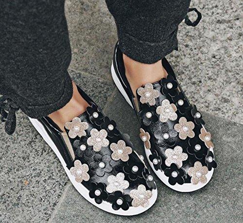 GLTER Le donne con plateau Stereo scarpe, fiori Pane perla pattini spessi paillettes Sandali Outdoor Black