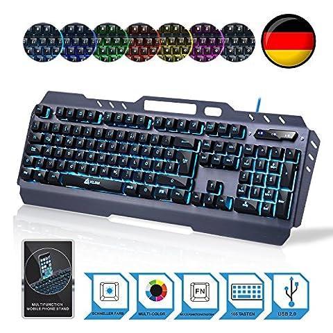 KLIM Lightning – NEU – hybrid halbmechanische Tastatur QWERTZ DEUTSCHE + sieben verschiedene Farben + 5-Jahre Garantie – Metallstruktur – Gamer-/Gaming-Tastatur für Videospiele