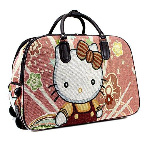YDezire®, borsone da viaggio da donna con le rotelle, portabile a mano Pink/Teddy