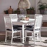 Pharao24 Skandinavische Essgruppe in Weiß Grau mit ausziehbarem Tisch Ohne Verlängerbar um je