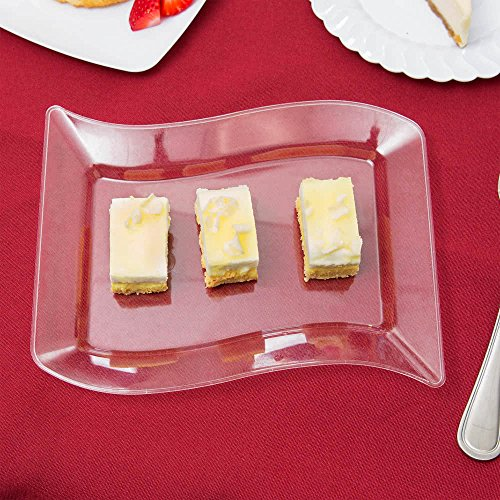 10Stück-Elegantes Harte Kunststoff gewellt rechteckig Dessert Servieren Teller-14x 19,1cm (14x 19cm), transparent