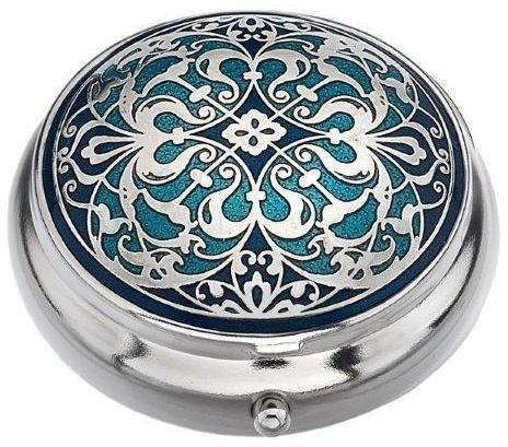 Pille Box (Standard Größe) in einem Arabesque Design in Blau Farbe