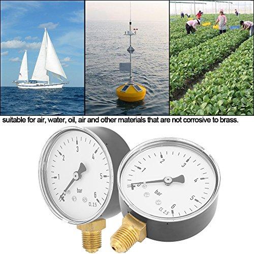Manómetro lleno de líquido, medidor de presión hidráulica de aire NPT de 1/4