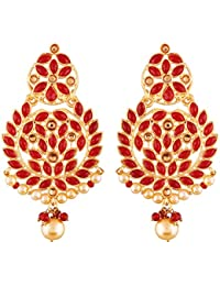 I Jewels Gold Plated Kundan Chandbali Earrings for Women (E2460R)