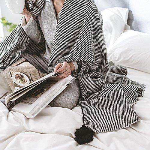 te weiche komfortable Sommer Klimaanlage Quilt handgemachte Sommer leichte gestrickte Decke, waschbar 1 Stück,Baumwolle Quaste Haar Ball Decke 130x160cm (übergroße Strand Bälle)