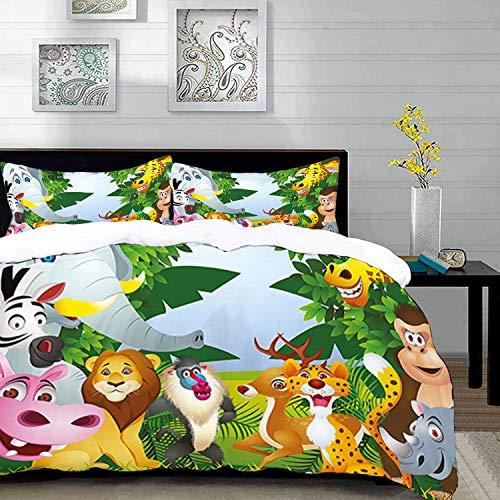 Bettwäsche-Set, Mikrofaser,Kindergarten, Gruppe von Safari-Dschungeltieren mit lustigen Ausdrücken Süße afrikanische Savanne Maskottchen, Brau 1 Bettbezug 200 x 200cm + 2 Kopfkissenbezug 80x80cm