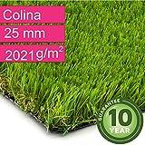 Kunstrasen Rasenteppich Colina für Garten - Florhöhe 25 mm - Gewicht ca. 2021 g/m² - UV-Garantie 10 Jahre (DIN 53387) - 2,00 m x 0,50 m | Rollrasen | Kunststoffrasen