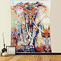 Hippie Mandala Elefante Tapicería de pared Bohemia Rosa de Tapestry de pared Colgante Flores Tapiz de Dremisland (L/200*150cm, Orange Elephant)