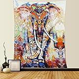 Dremisland Tapisserie wandteppich Elefanten Indische Hippie Mandala Böhmische Orientalisch Wand Hängende Dekor wandtuch wandbehang Tapestry(M/150*130cm, Orange Elefant)