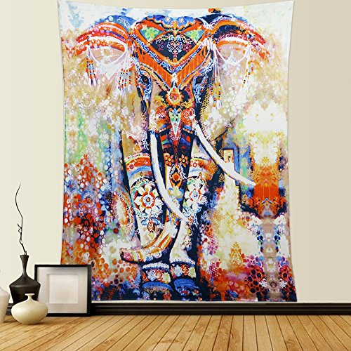 Lomohoo Tapicería Elefante Algodón Suave Boho Indio Elefante Tapiz V